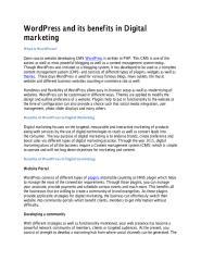 WordPress and its benefits in Digital marketing.pdf
