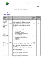 ACC Work Experience - Ongoing Projects.doc