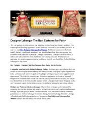 Designer Lehenga- The Best Costume for Party.docx